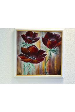 """"""" vörös virágok """" - akril tanulmánykép, keretezve 40x40 cm"""