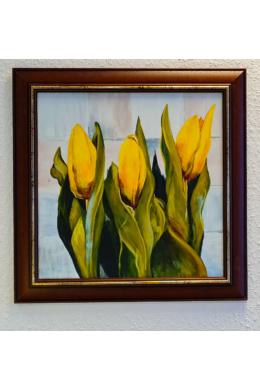 """"""" Sárga virágok """" - akril tanulmánykép, keretezve 40x40 cm"""
