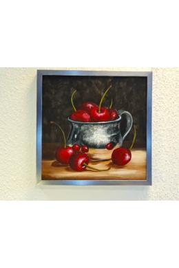 """"""" cseresznyés tál """" - akril tanulmánykép, keretezve 40x40 cm"""