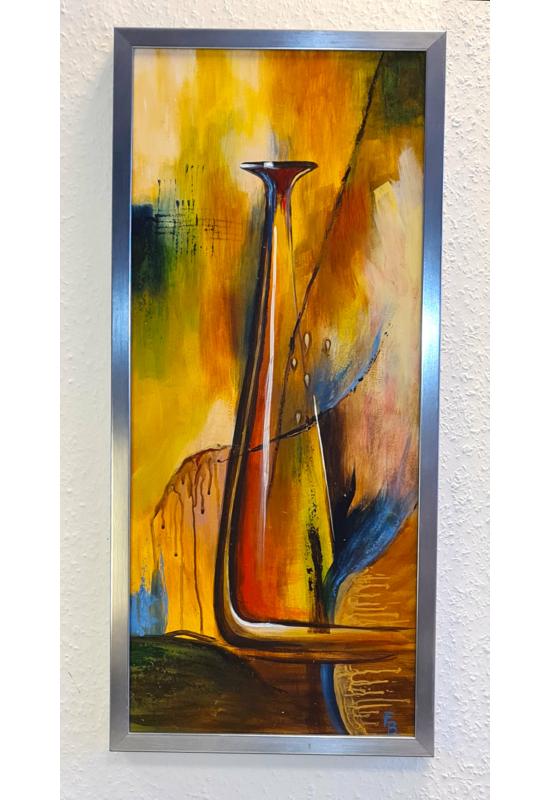 """"""" Modern váza """" - akril tanulmánykép, keretezve 60x30 cm"""