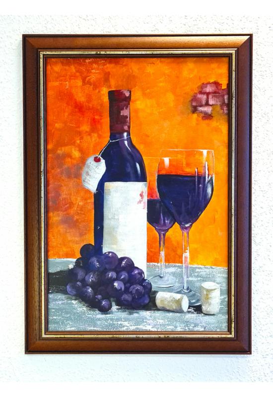 """"""" Szőlő és bor """" - akril tanulmánykép, keretezve 60x40 cm"""