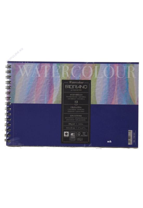 Fabriano-Watercolour akvarell tömb, spirálkötésű, 24x32cm, 300gr - 12 lap