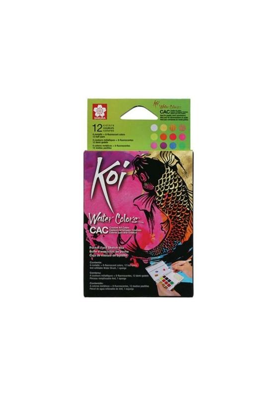 Sakura koi szilkés akvarellfesték készlet,12 db + víztartályos ecset, metál színek